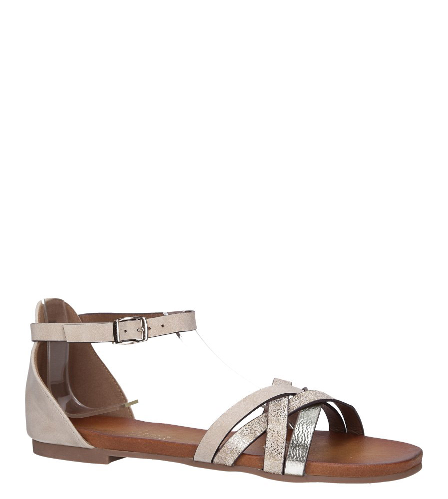Beżowe sandały płaskie z zakrytą piętą i paskiem wokół kostki Casu K18X9/BE model K18X9/BE