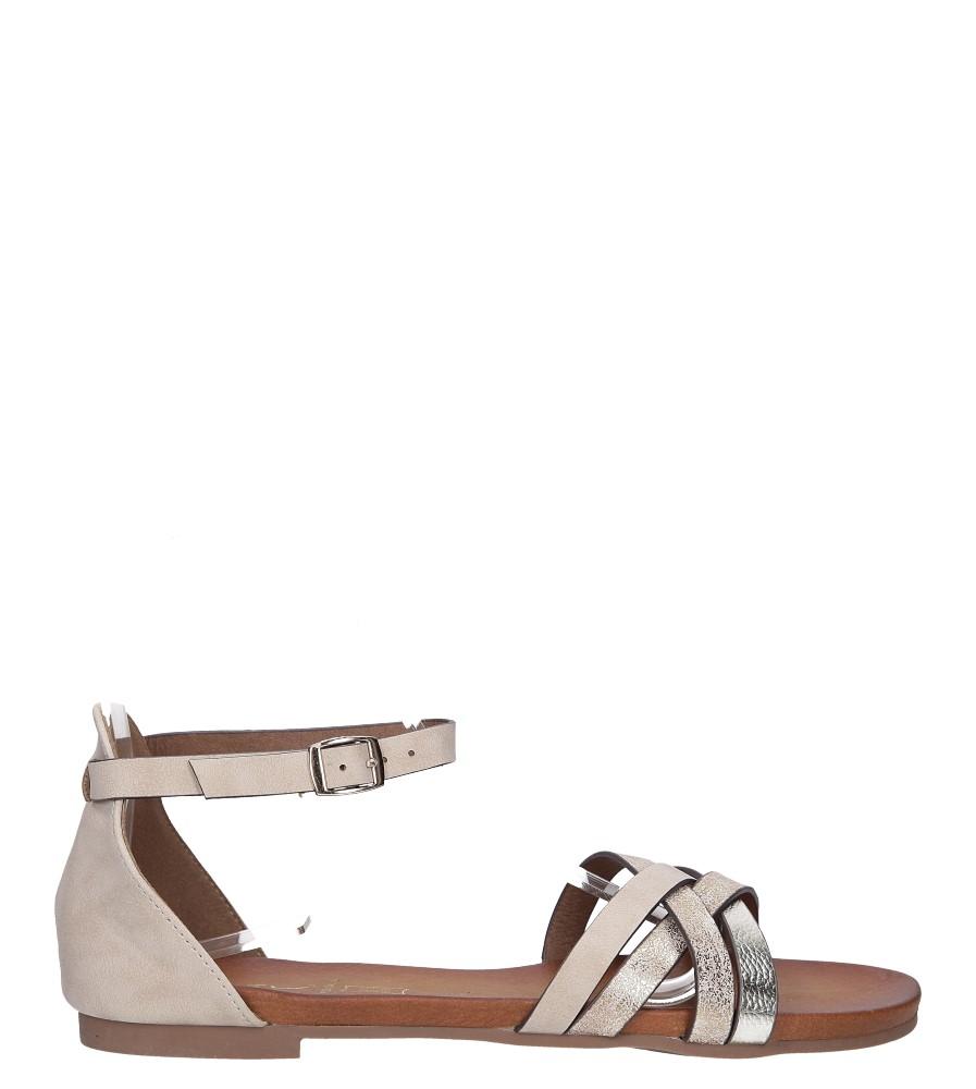 Beżowe sandały płaskie z zakrytą piętą i paskiem wokół kostki Casu K18X9/BE kolor jasny beżowy