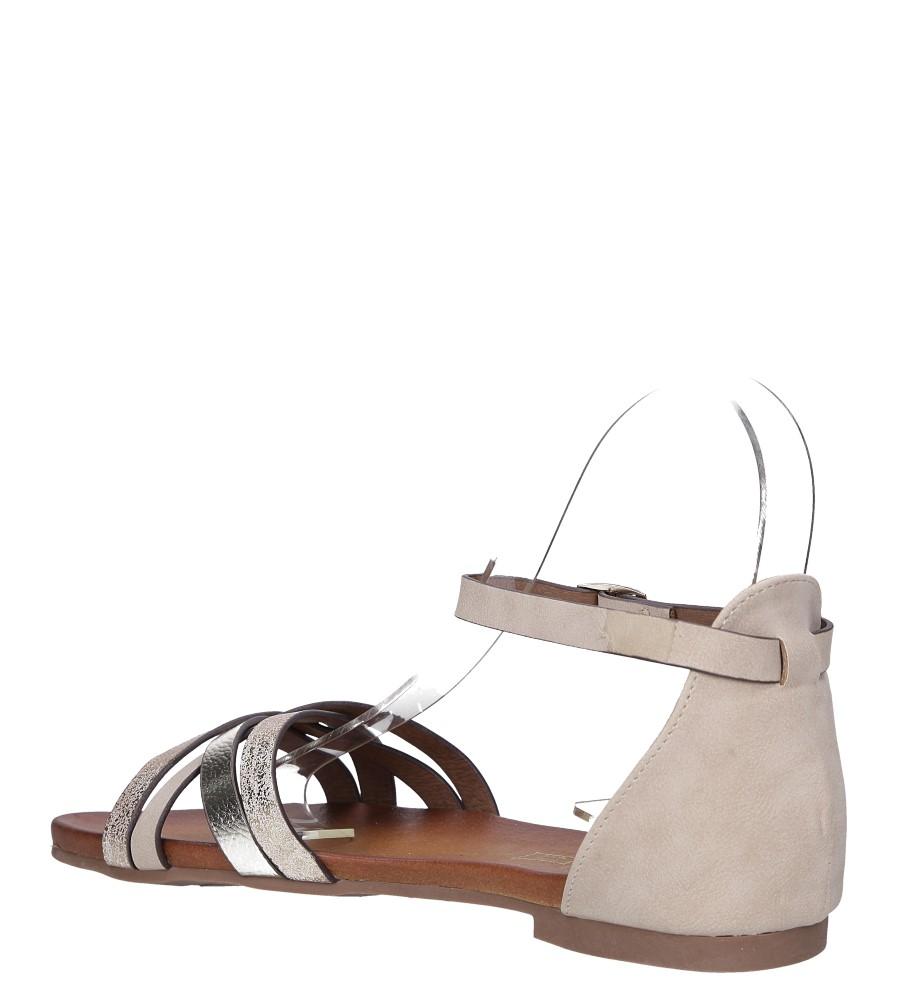 Beżowe sandały płaskie z zakrytą piętą i paskiem wokół kostki Casu K18X9/BE wysokosc_obcasa 1 cm