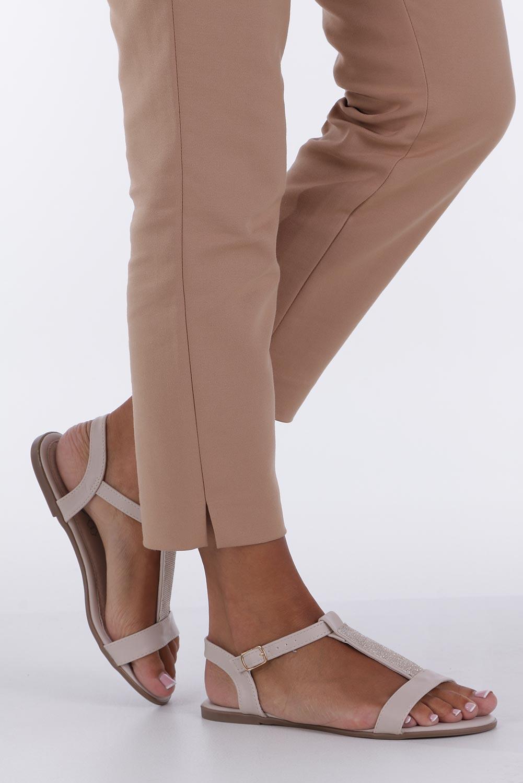 Beżowe sandały płaskie ze skórzaną wkładką brokatowy pasek Casu S19X2/BE producent Casu