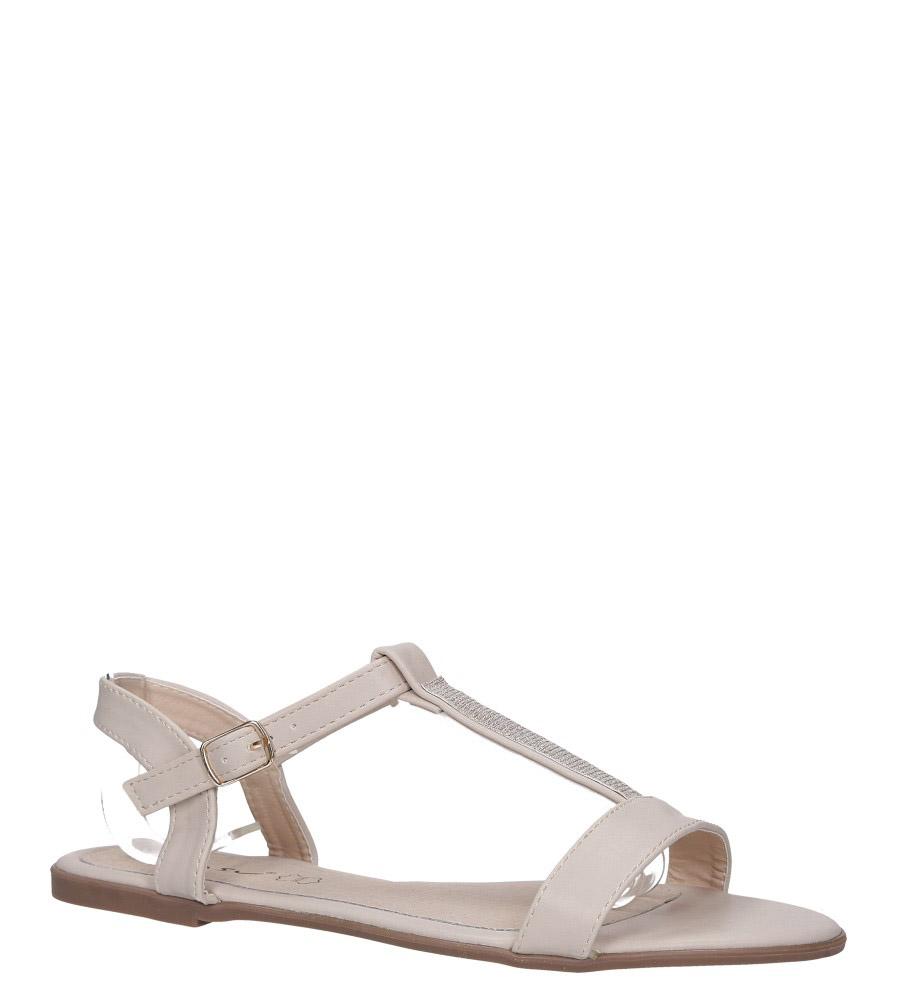 Beżowe sandały płaskie ze skórzaną wkładką brokatowy pasek Casu S19X2/BE