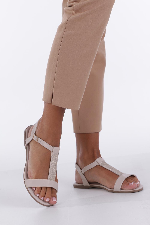 Beżowe sandały płaskie ze skórzaną wkładką brokatowy pasek Casu S19X2/BE sezon Lato