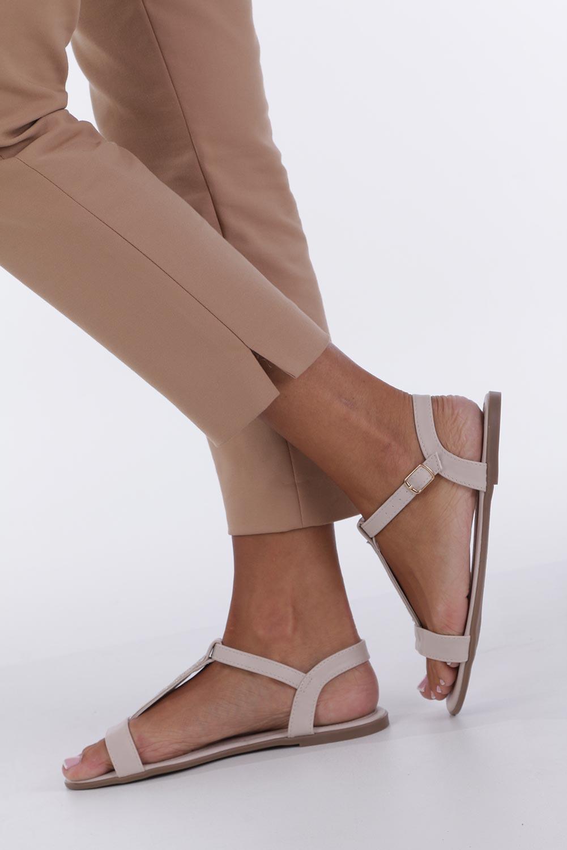 Beżowe sandały płaskie ze skórzaną wkładką brokatowy pasek Casu S19X2/BE kolor jasny beżowy