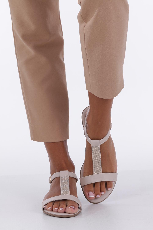 Beżowe sandały płaskie ze skórzaną wkładką brokatowy pasek Casu S19X2/BE wysokosc_obcasa 1 cm