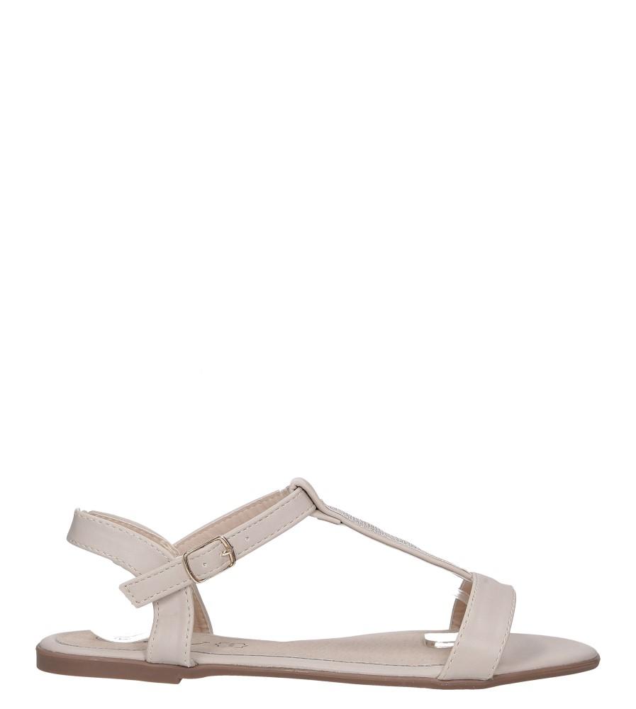 Beżowe sandały płaskie ze skórzaną wkładką brokatowy pasek Casu S19X2/BE wysokosc_platformy 1 cm
