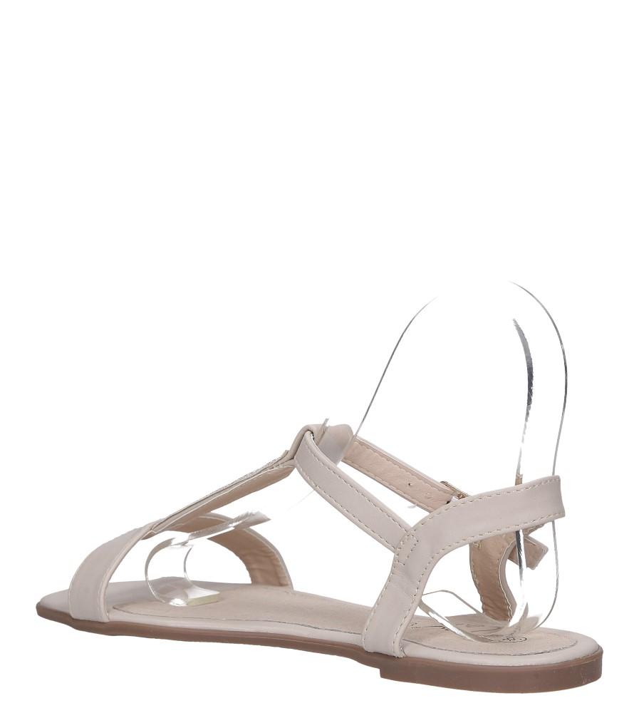 Beżowe sandały płaskie ze skórzaną wkładką brokatowy pasek Casu S19X2/BE wys_calkowita_buta 10 cm