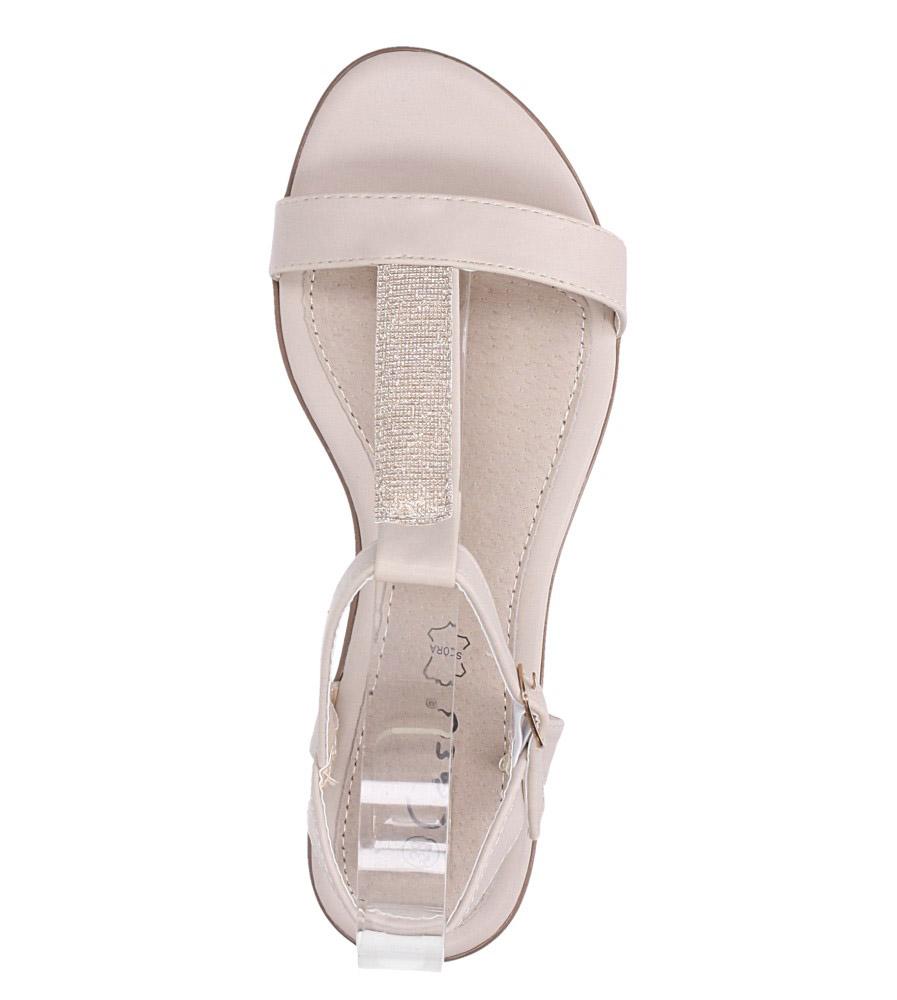 Beżowe sandały płaskie ze skórzaną wkładką brokatowy pasek Casu S19X2/BE wierzch skóra ekologiczna