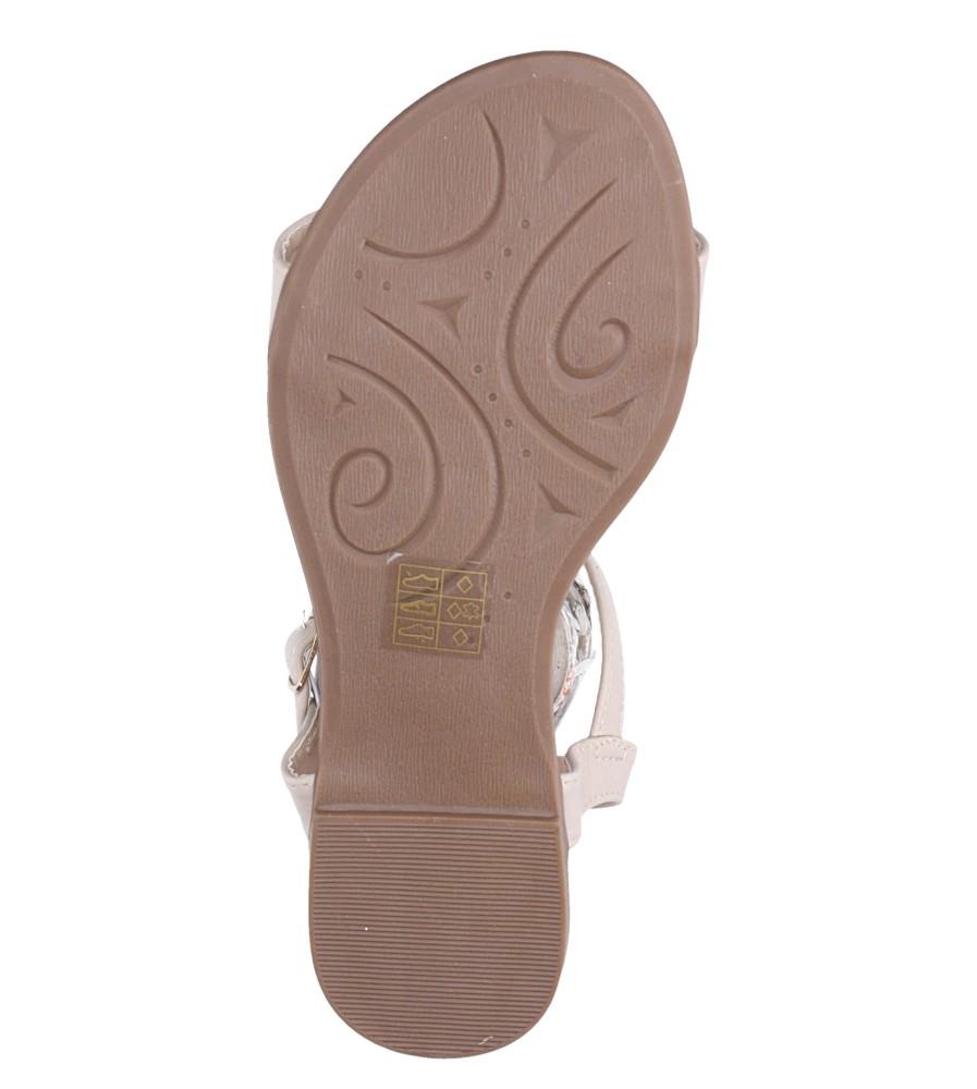 Beżowe sandały płaskie ze skórzaną wkładką brokatowy pasek Casu S19X2/BE wnetrze skóra ekologiczna