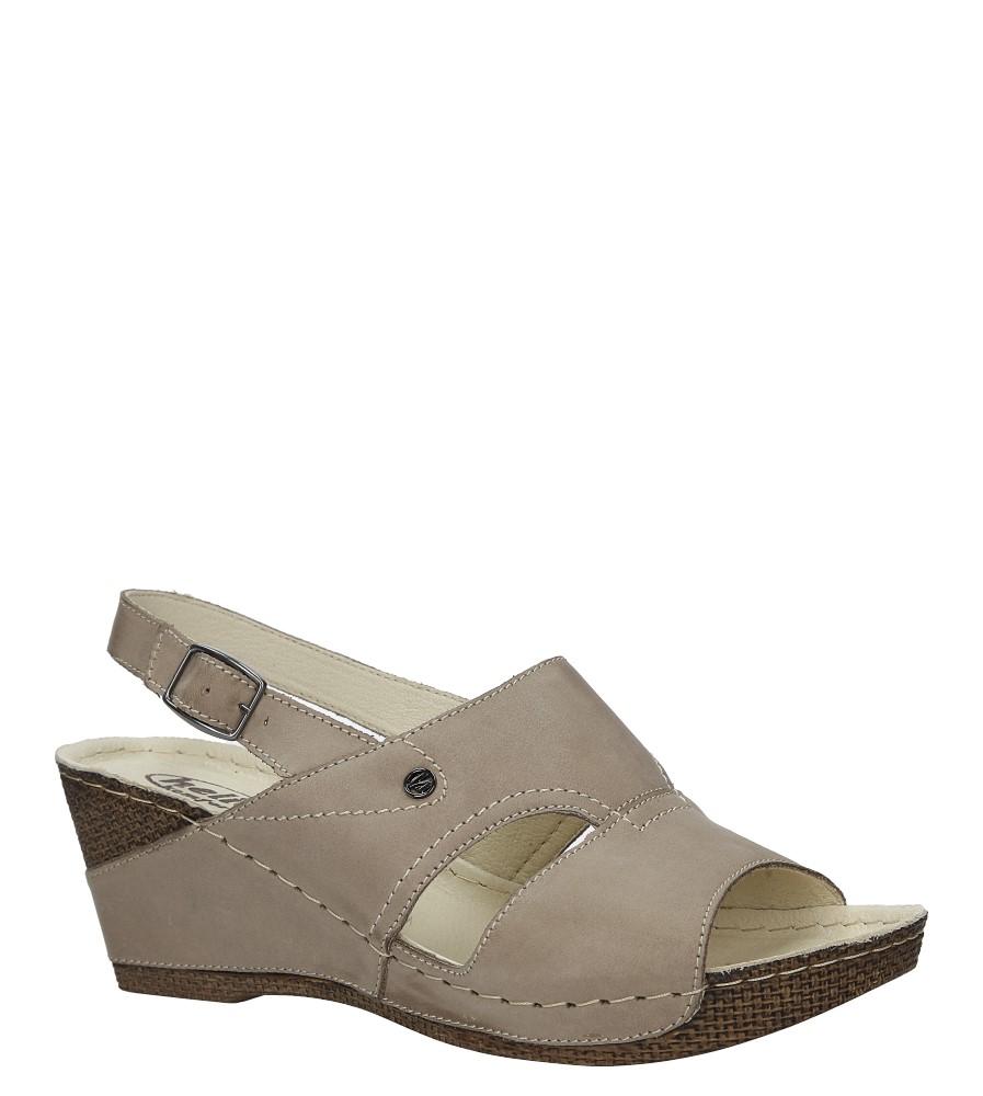 Beżowe sandały skórzane na koturnie Helios 217