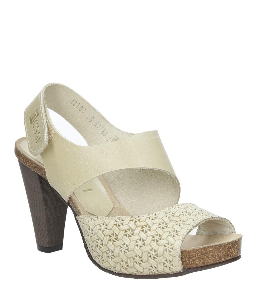 Beżowe sandały skórzane na słupku Nessi 42103 producent Nessi
