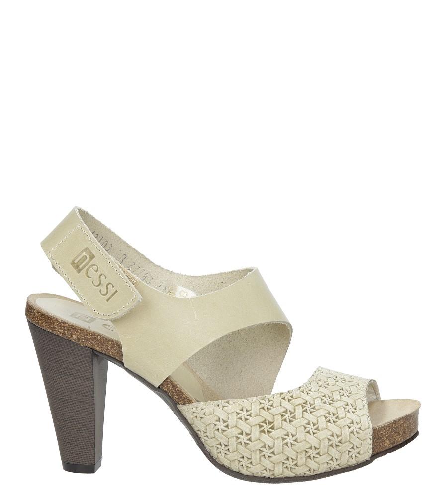 Beżowe sandały skórzane na słupku Nessi 42103 sezon Lato