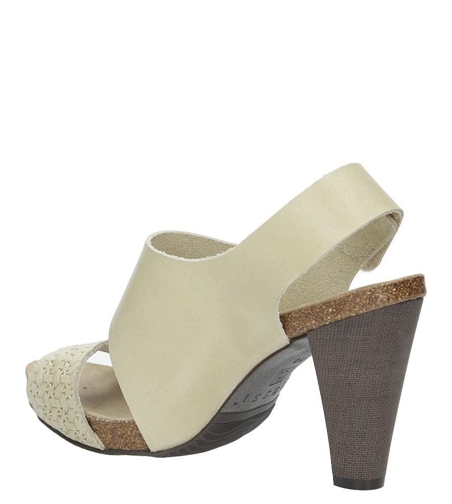 Beżowe sandały skórzane na słupku Nessi 42103 wysokosc_obcasa 9 cm