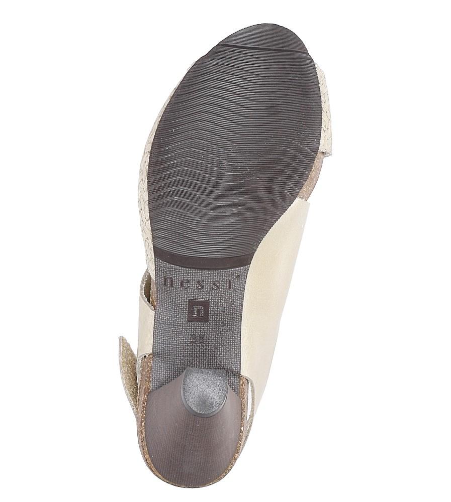Beżowe sandały skórzane na słupku Nessi 42103 wys_calkowita_buta 16 cm
