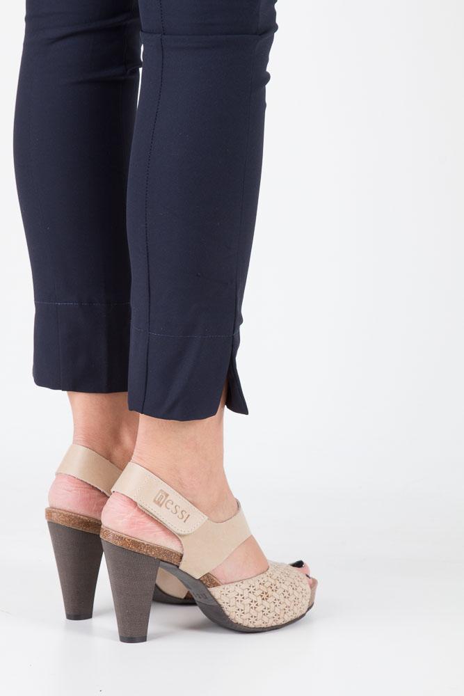 Beżowe sandały skórzane na słupku Nessi 42103 wierzch skóra naturalna - licowa