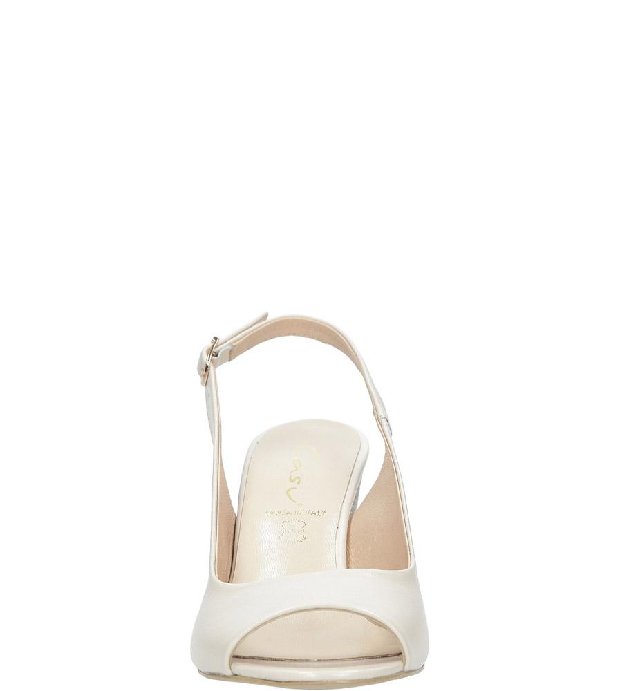Beżowe sandały skórzane z ozdobnym obcasem Casu CAS003 kolor jasny beżowy