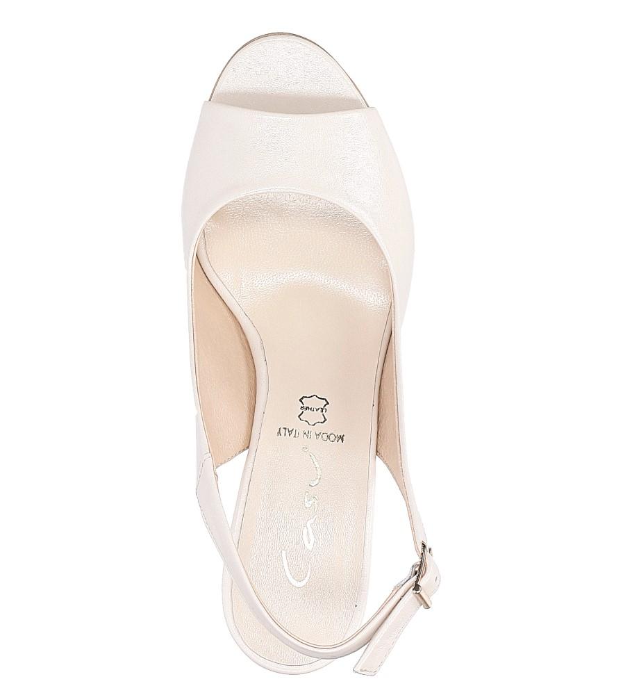 Beżowe sandały skórzane z ozdobnym obcasem Casu CAS003 wysokosc_platformy 0.5 cm