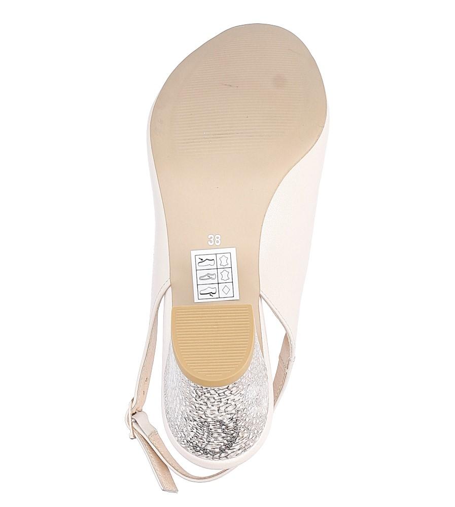 Beżowe sandały skórzane z ozdobnym obcasem Casu CAS003 wys_calkowita_buta 12 cm