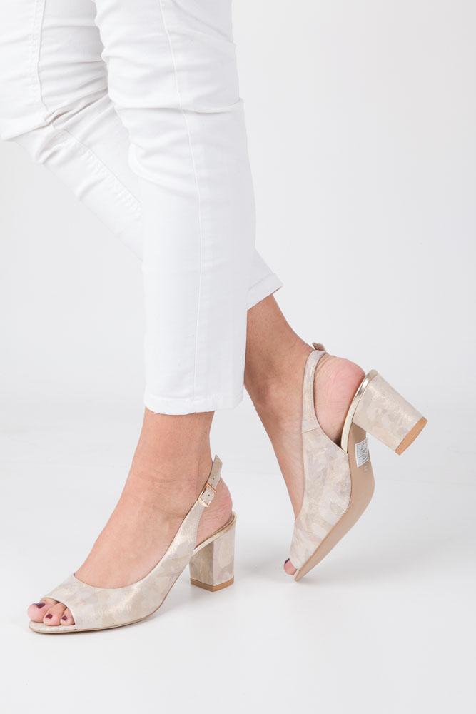 Beżowe sandały skórzane z ozdobnym obcasem Casu CAS003