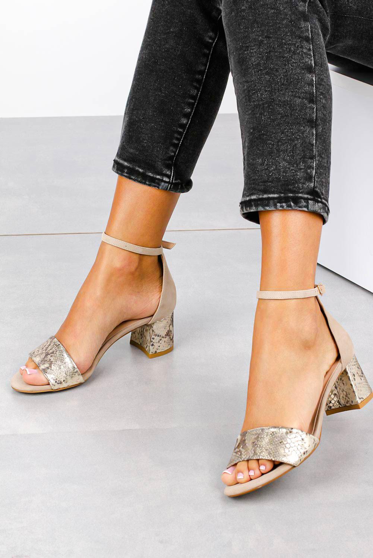 Beżowe sandały skórzane z paskiem wokół kostki na szerokim ozdobnym słupku Casu DS-252/A beżowy