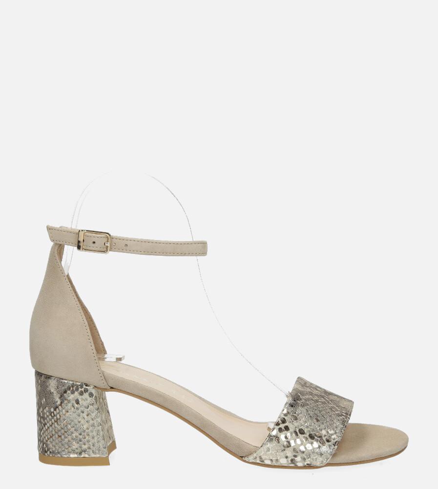 Beżowe sandały skórzane z paskiem wokół kostki na szerokim ozdobnym słupku Casu DS-252/A wys_calkowita_buta 15 cm