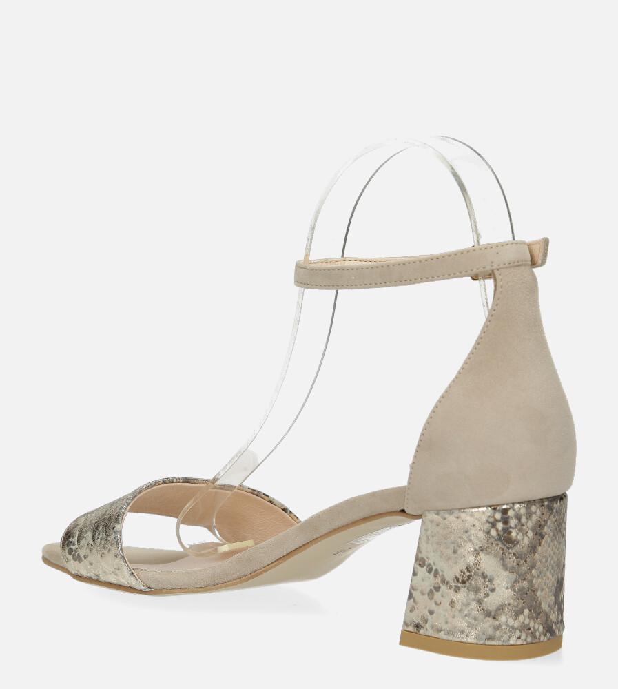 Beżowe sandały skórzane z paskiem wokół kostki na szerokim ozdobnym słupku Casu DS-252/A wierzch skóra naturalna - zamsz/licowa