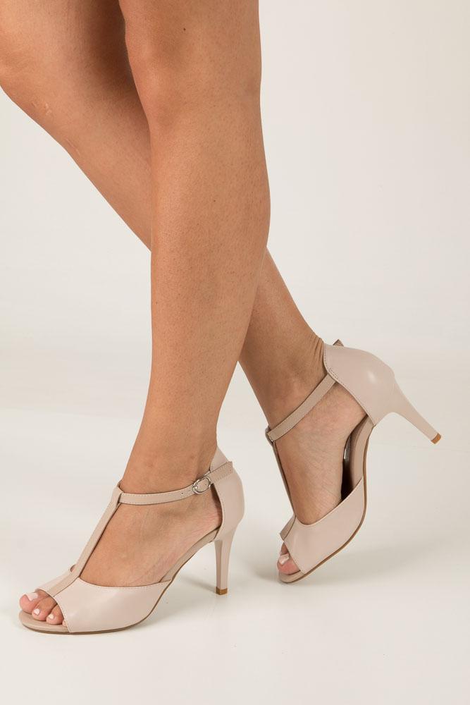 Beżowe sandały szpilki Jezzi SA124-2 beżowy