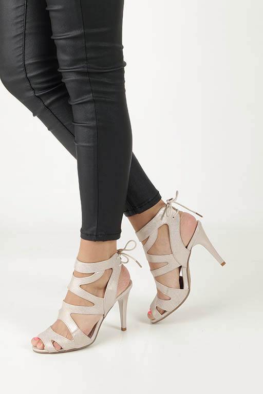 Beżowe sandały szpilki z ozdobnym wiązaniem Sergio Leone SK815-10X beżowy