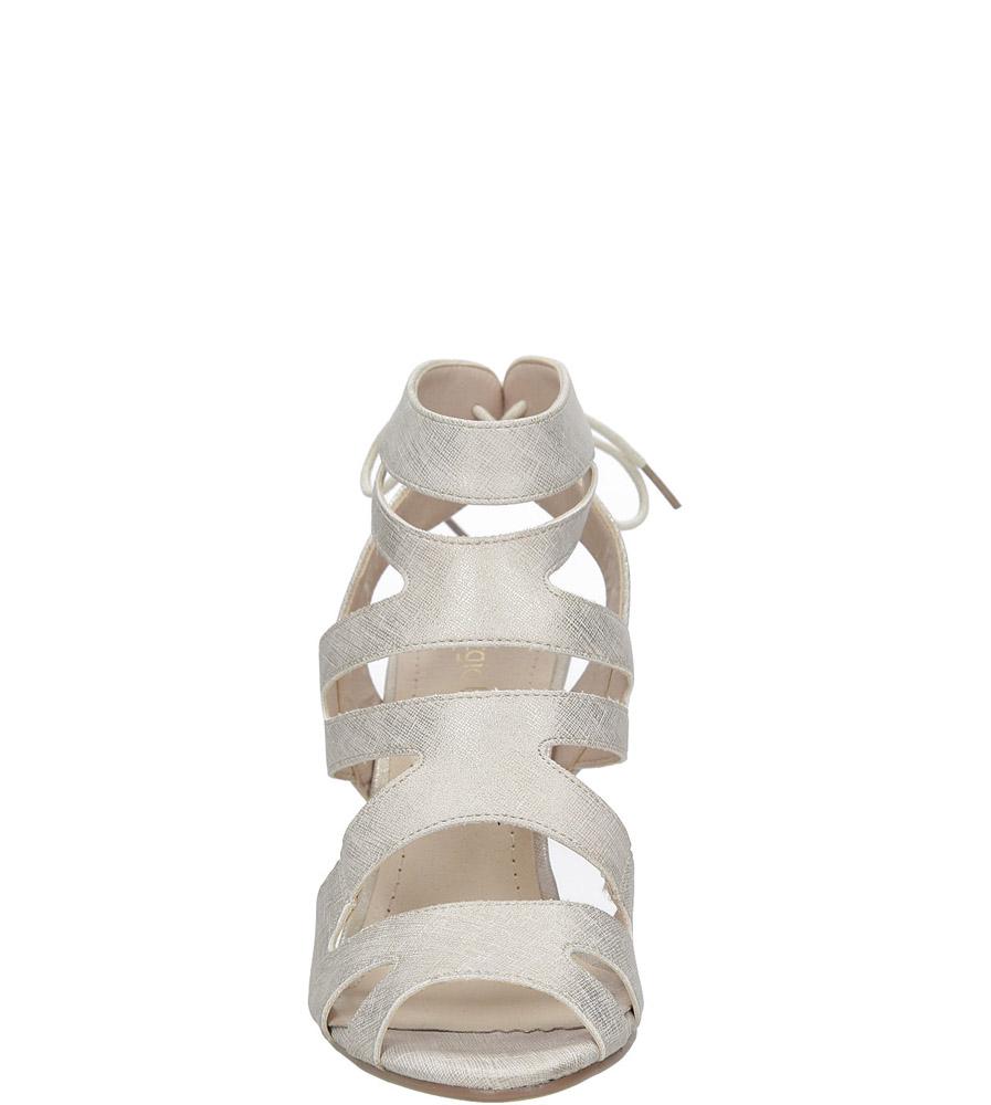 Beżowe sandały szpilki z ozdobnym wiązaniem Sergio Leone SK815-10X kolor beżowy, złoty