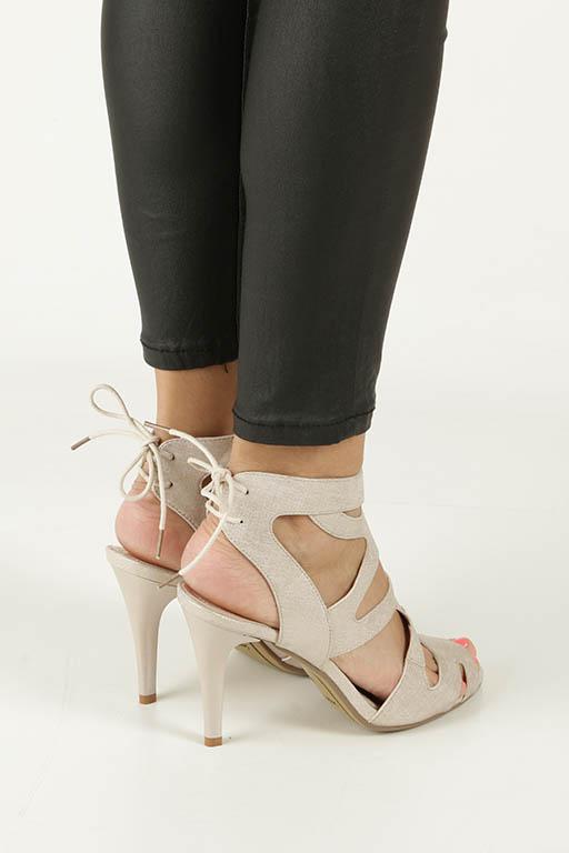Beżowe sandały szpilki z ozdobnym wiązaniem Sergio Leone SK815-10X wys_calkowita_buta 18.5 cm