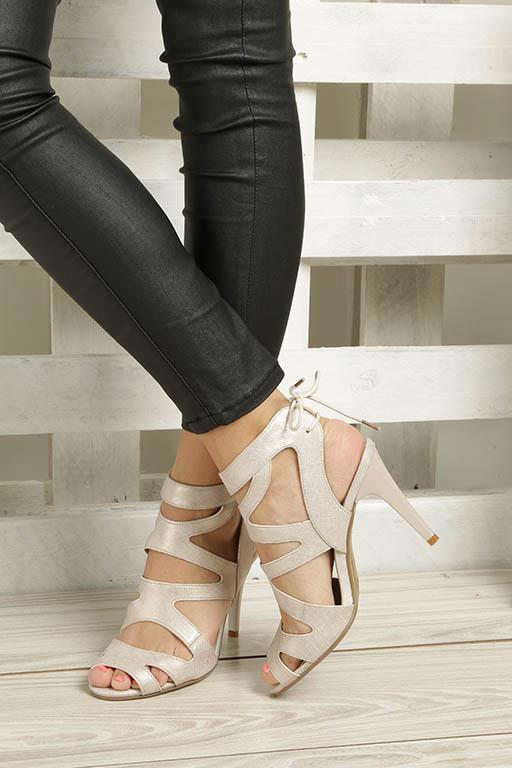 Beżowe sandały szpilki z ozdobnym wiązaniem Sergio Leone SK815-10X wierzch skóra ekologiczna - zamsz