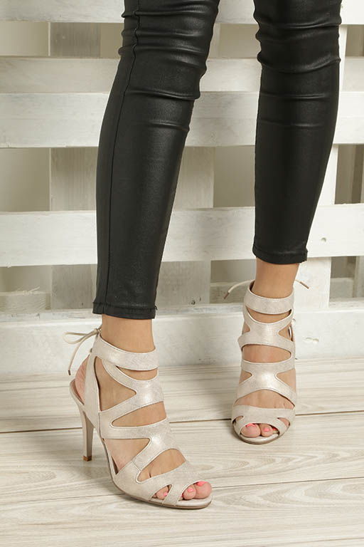Beżowe sandały szpilki z ozdobnym wiązaniem Sergio Leone SK815-10X wkladka skóra