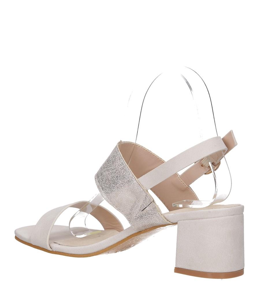 Beżowe sandały z paskiem błyszczącym na niskim obcasie skórzana wkładka Casu E19X2/BE wys_calkowita_buta 13.5 cm