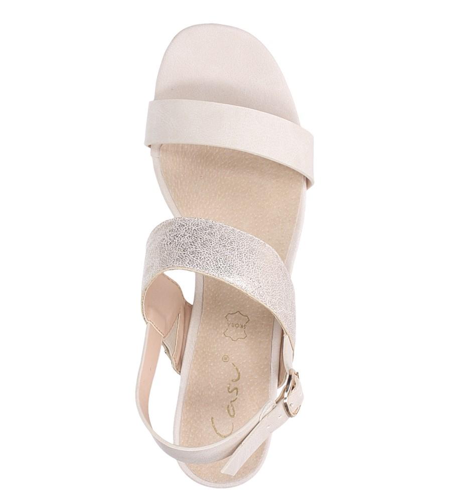 Beżowe sandały z paskiem błyszczącym na niskim obcasie skórzana wkładka Casu E19X2/BE wierzch skóra ekologiczna
