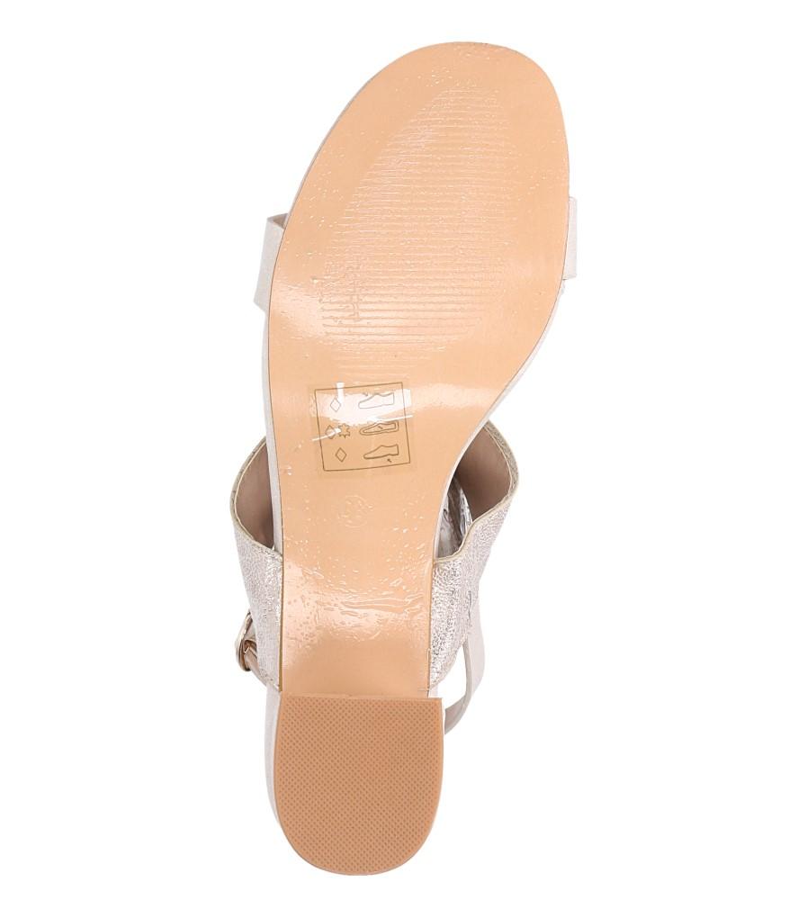 Beżowe sandały z paskiem błyszczącym na niskim obcasie skórzana wkładka Casu E19X2/BE wnetrze skóra ekologiczna