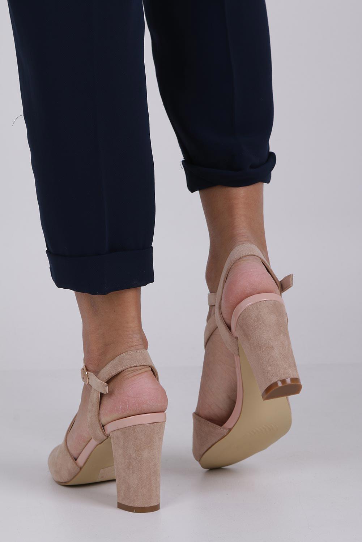 Beżowe sandały z paskiem przez środek na szerokim słupku Sergio Leone SK868 wysokosc_obcasa 9.5 cm