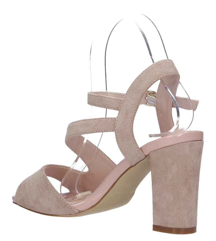 Beżowe sandały z paskiem przez środek na szerokim słupku Sergio Leone SK868 wys_calkowita_buta 15 cm