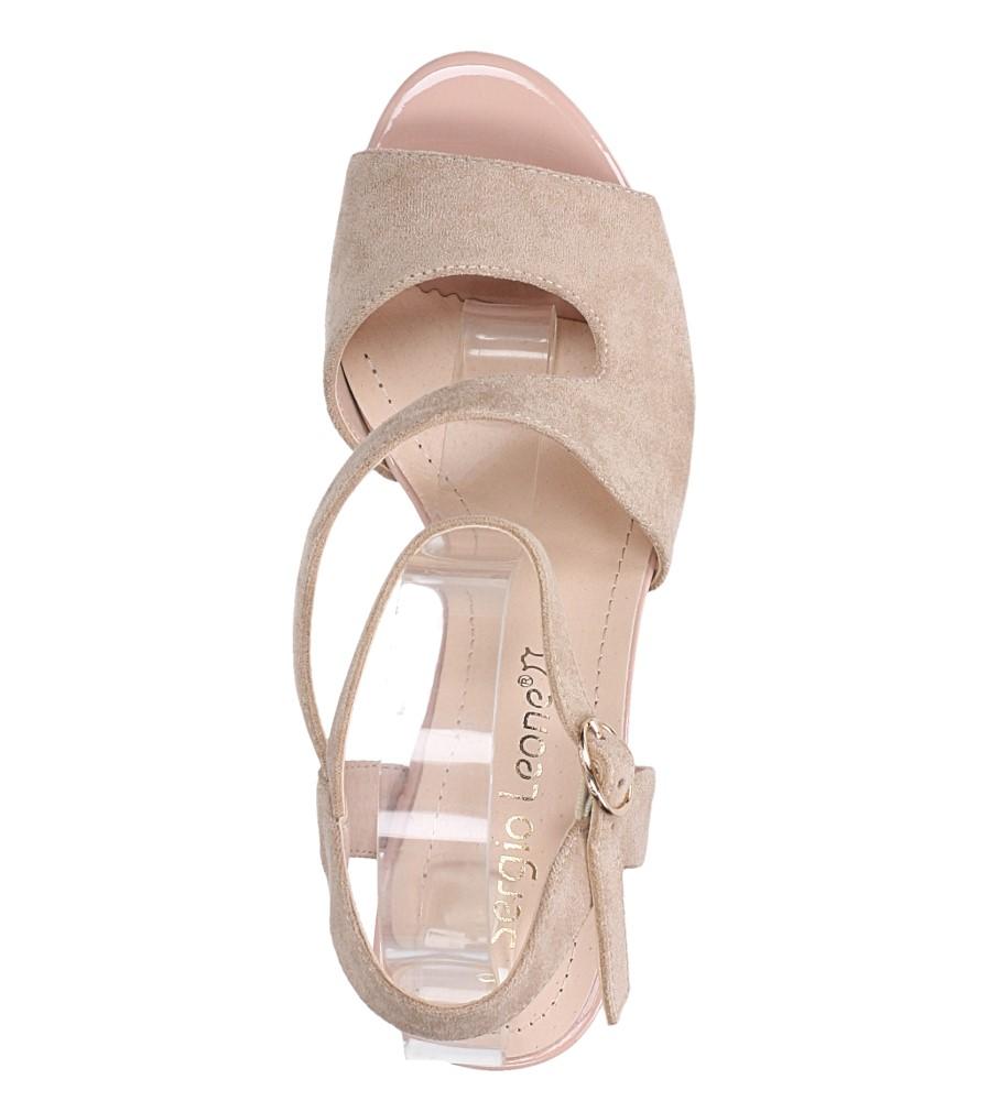 Beżowe sandały z paskiem przez środek na szerokim słupku Sergio Leone SK868 wierzch zamsz ekologiczny