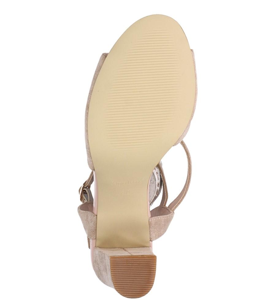 Beżowe sandały z paskiem przez środek na szerokim słupku Sergio Leone SK868 wnetrze skóra ekologiczna