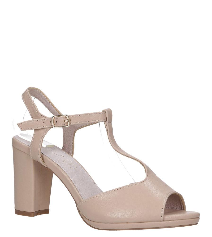 Beżowe sandały z wkładką skórzaną na słupku z paskiem przez środek Casu DD19X5/BE