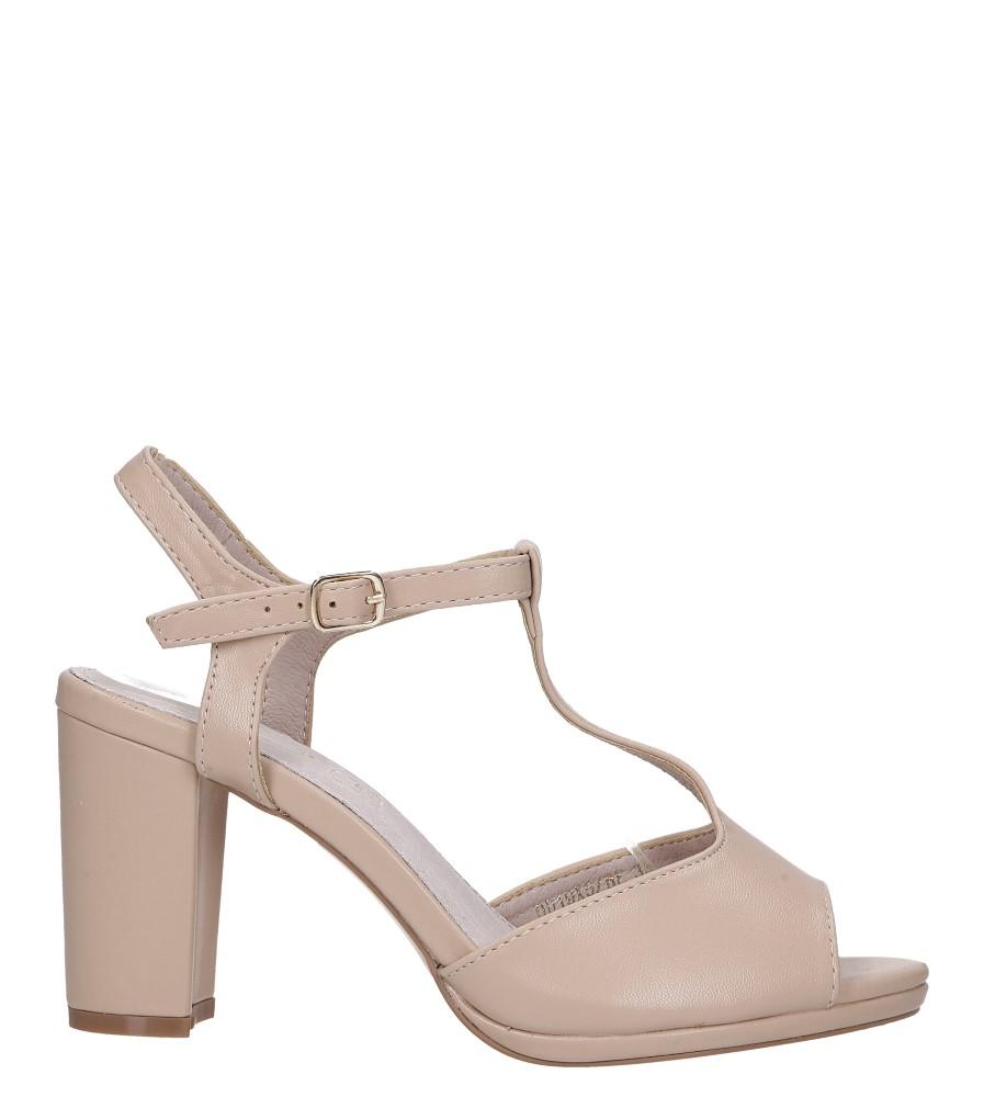 Beżowe sandały ze skórzaną wkładką na słupku z paskiem przez środek Casu DD19X5/BE wysokosc_obcasa 9 cm