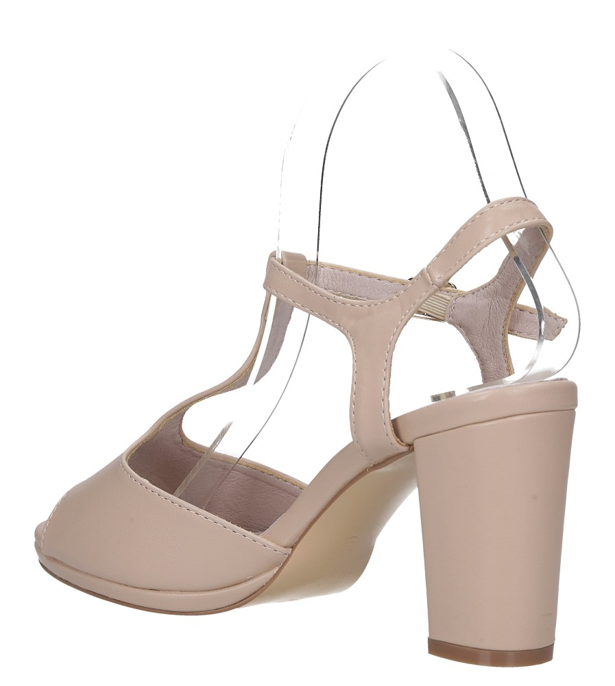 Beżowe sandały ze skórzaną wkładką na słupku z paskiem przez środek Casu DD19X5/BE wysokosc_platformy 1 cm