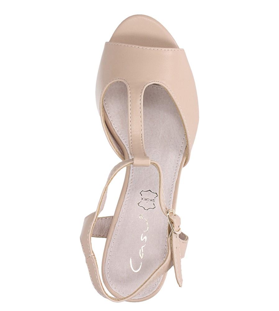 Beżowe sandały ze skórzaną wkładką na słupku z paskiem przez środek Casu DD19X5/BE wys_calkowita_buta 12.5 cm