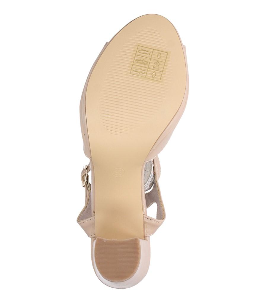 Beżowe sandały ze skórzaną wkładką na słupku z paskiem przez środek Casu DD19X5/BE wierzch skóra ekologiczna