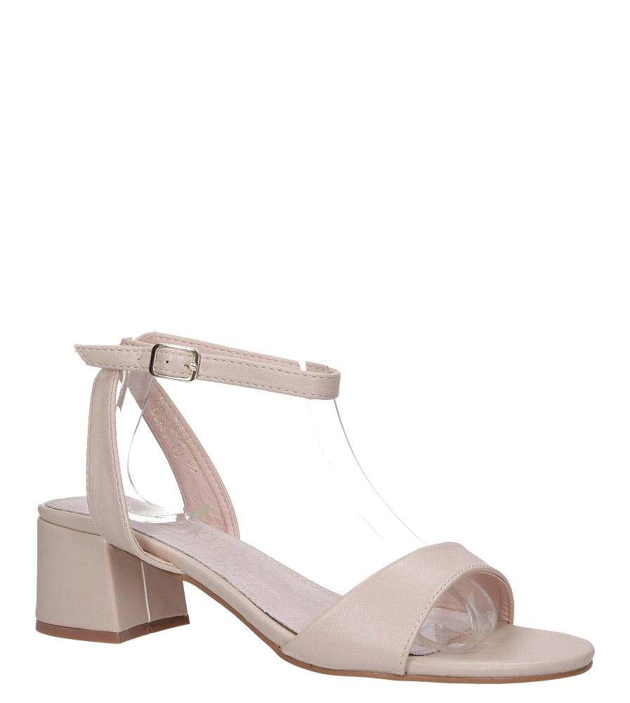 Beżowe sandały ze skórzaną wkładką na szerokim niskim obcasie z paskiem wokół kostki Casu DD19X2/BE jasny beżowy