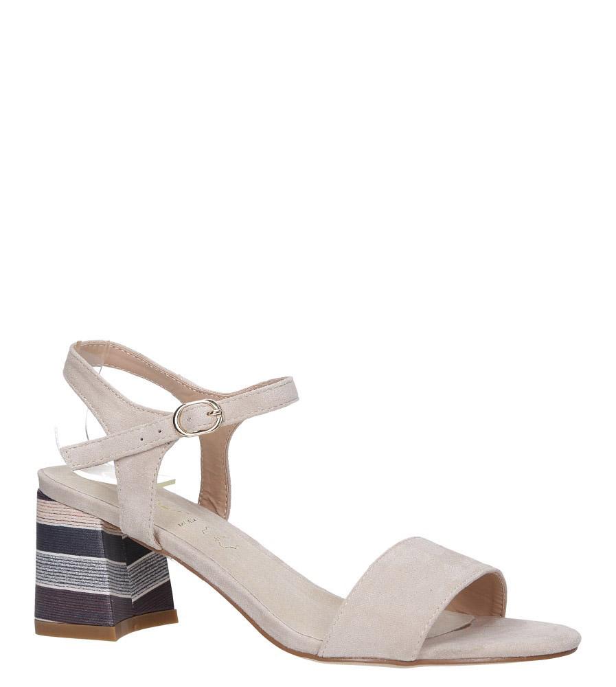 Beżowe sandały z wkładką skórzaną na szerokim ozdobnym obcasie Casu N19X2/BE
