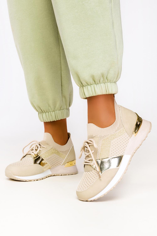 Beżowe sneakersy Casu buty sportowe na ukrytym koturnie sznurowane 7-K2145B