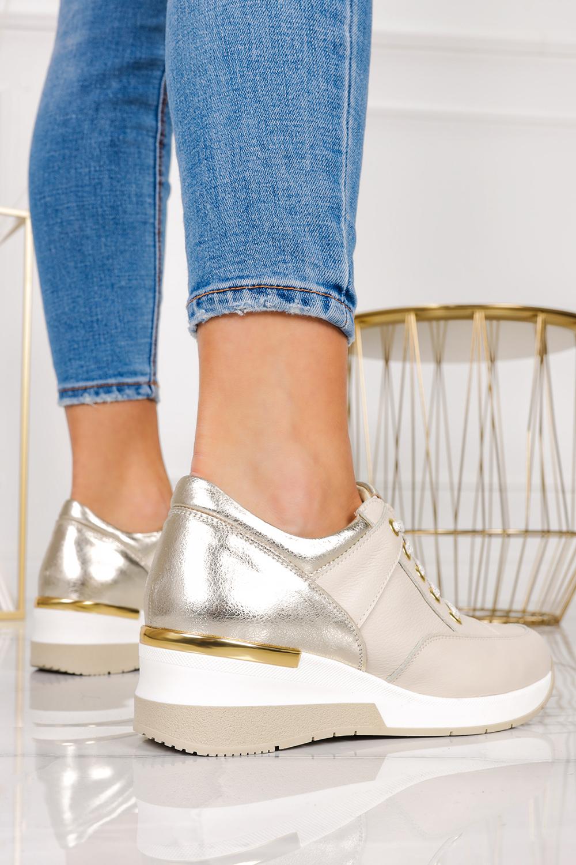 Beżowe sneakersy Casu buty sportowe sznurowane na koturnie polska skóra 420/Z beżowy