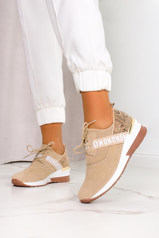 Beżowe sneakersy Filippo buty sportowe sznurowane wzór wężowy polska skóra DP1388/21BE beżowy