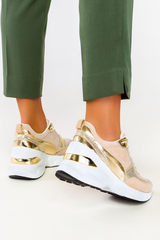 Beżowe sneakersy Filippo skórzane buty sportowe sznurowane DP2056/21BE GO beżowy