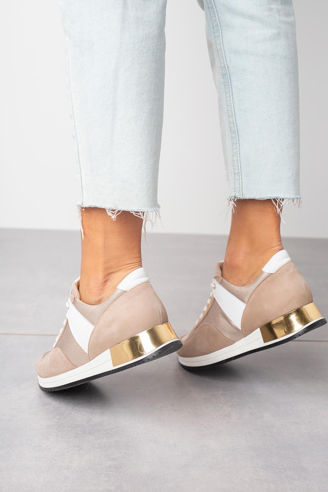 Beżowe sneakersy Kati buty sportowe sznurowane 7003 beżowy